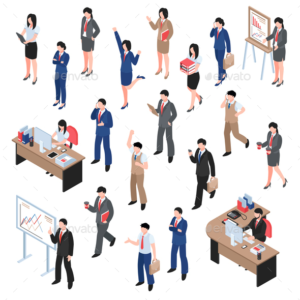 Men And Women Business Set - People Characters