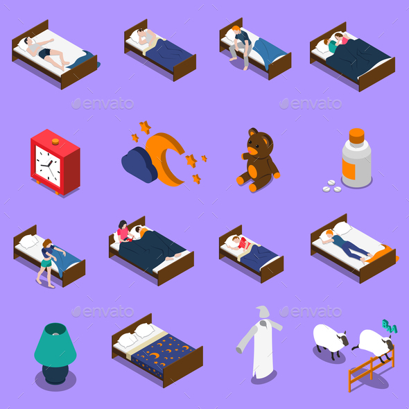 GraphicRiver Sleep Time Isometric Icons Set 20767030