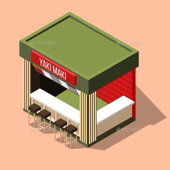 Isometric Sushi Bar Background - Buildings Objects