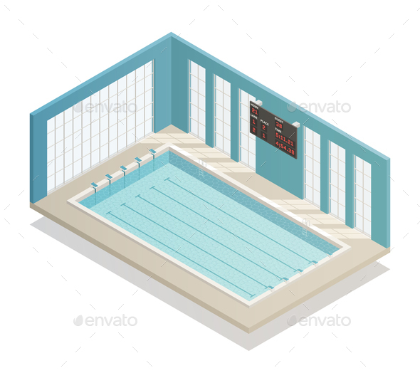 Swimming Pool Bath Isometric View - Sports/Activity Conceptual