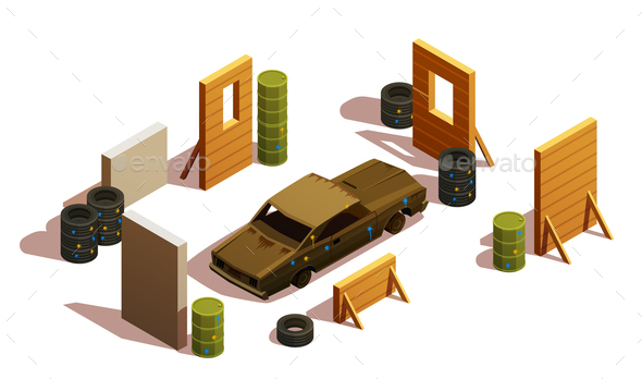 Paintball Playground Isometric Composition