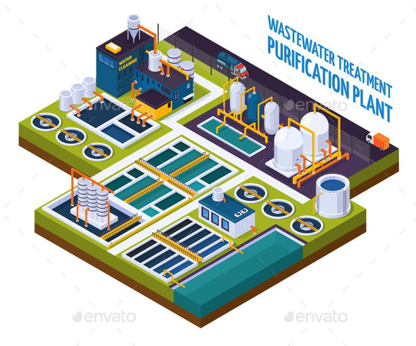 Purification Plant Isometric Composition - Buildings Objects