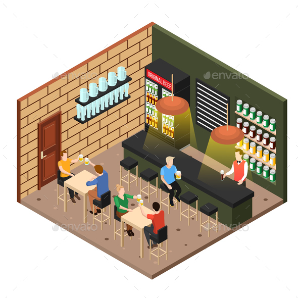 Isometric Beer Shop - Industries Business