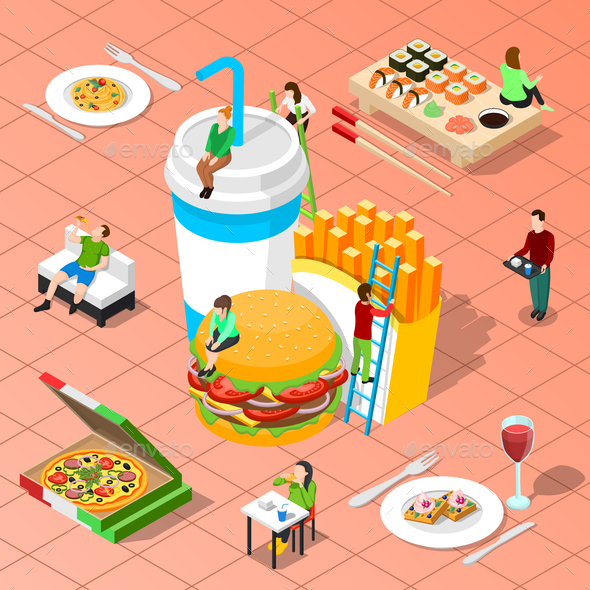 Fast Food Isometric Composition - Miscellaneous Vectors