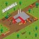 Timber Mill Lumberjack Isometric Composition