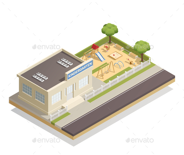 GraphicRiver Kindergarten With Playground Isometric Illustration 20767066