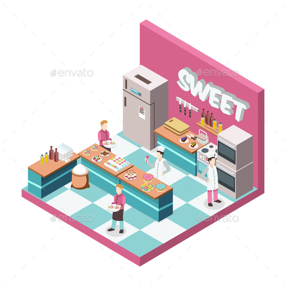 GraphicRiver Sweet Shop Kitchen Isometric Illustration 20767075