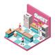 Sweet Shop Kitchen Isometric Illustration