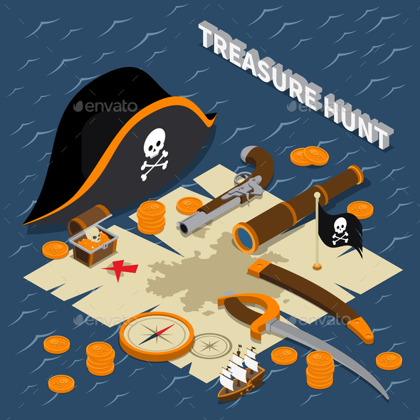 Treasure Hunt Isometric Composition - Miscellaneous Vectors