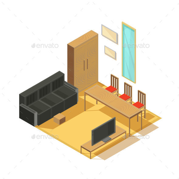 Room Furniture Isometric Composition - Buildings Objects