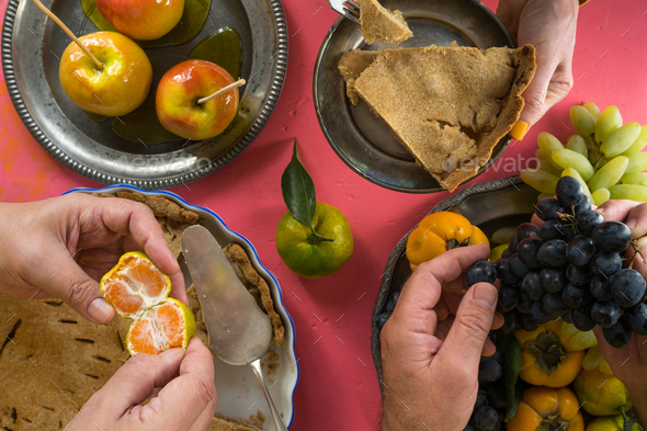 Traditional American Thanksgiving holiday, feast top view - Stock Photo - Images