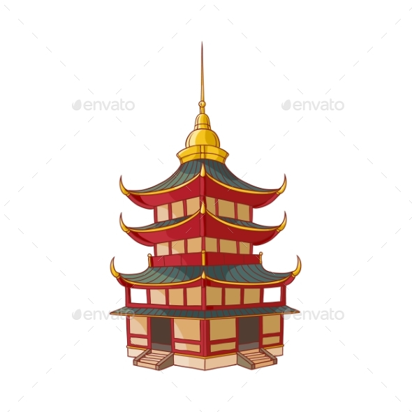 Traditional Japanese, Chinese, Asian Pagoda - Buildings Objects