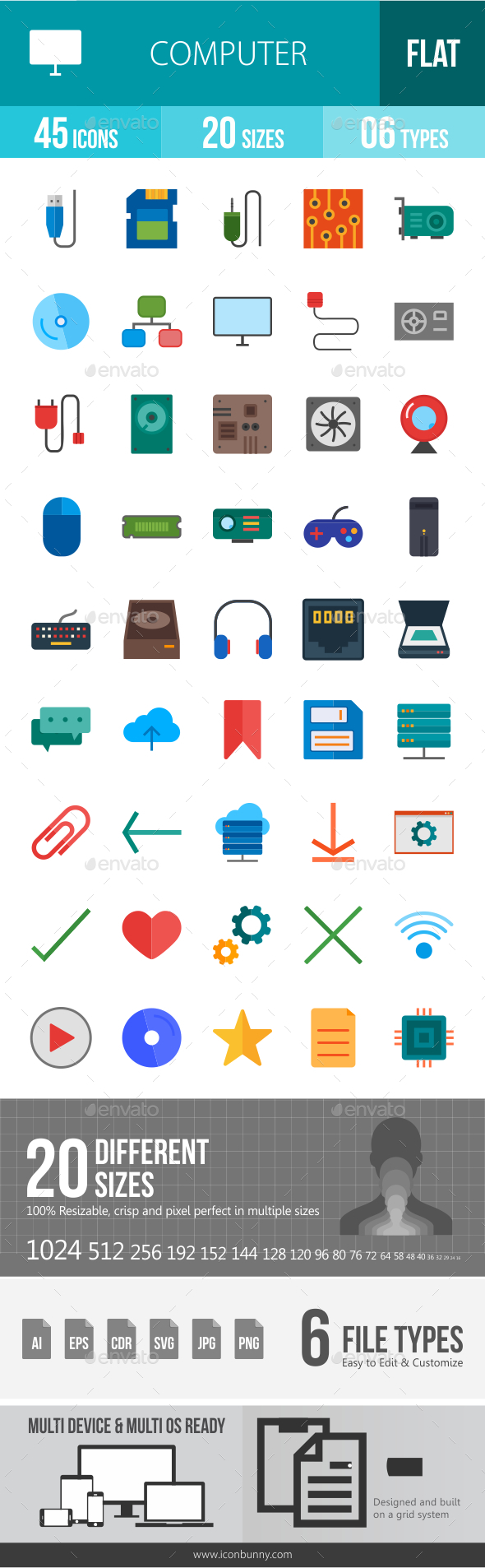 GraphicRiver Computer Hardware Flat Icons 20767101