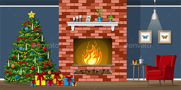 Illustration of a Living Room with Christmas Tree - Miscellaneous Vectors