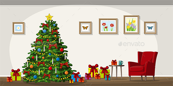 Illustration of Interior Equipment with Christmas Tree - Christmas Seasons/Holidays