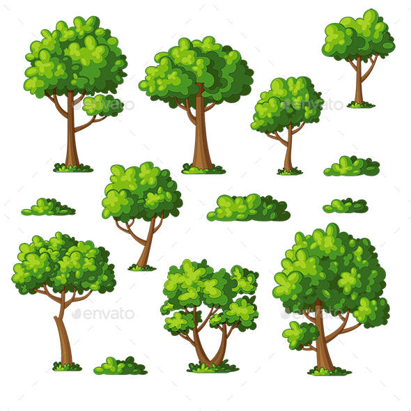 Illustration of Some Trees and Bushes - Flowers & Plants Nature