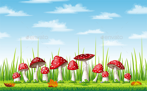 GraphicRiver Illustration of Mushrooms in Autumn 20767474
