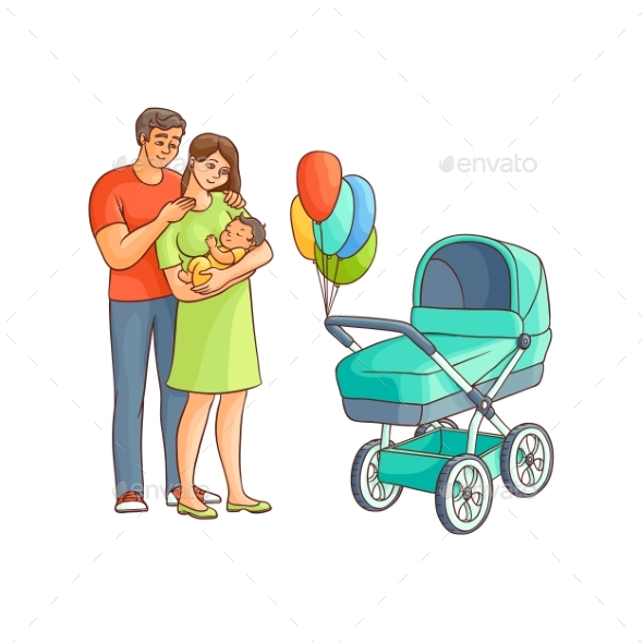 GraphicRiver Adult Couple with Infant and Baby Stroller 20767485