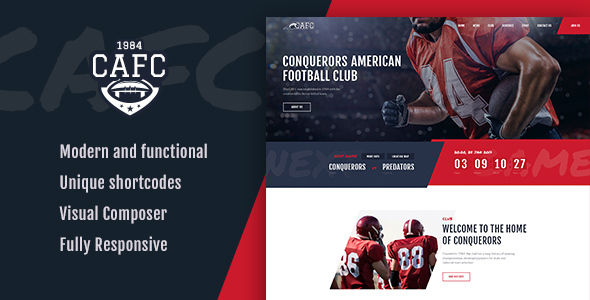 ThemeForest Conquerors American Football Club 20767617