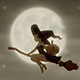 Witch Flying On Broomstick With Pumpkin On Halloween
