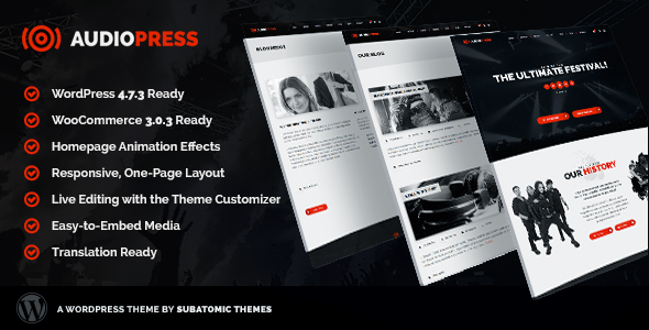 Audiopress | A WordPress Theme for Music Festivals and Bands - Music and Bands Entertainment