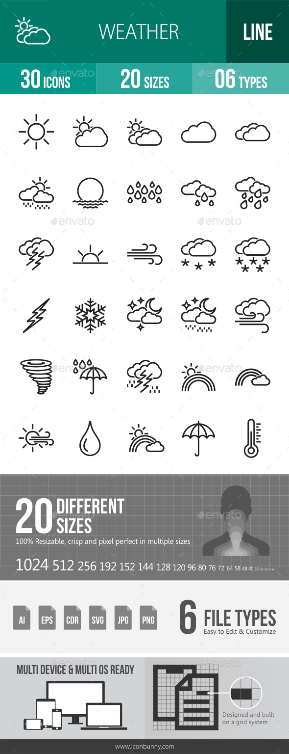 GraphicRiver Weather Line Icons 20767925