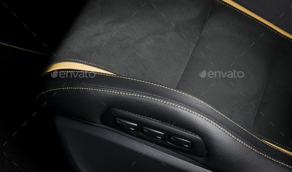 Modern race car interior. Sport seat details stitch - Stock Photo - Images