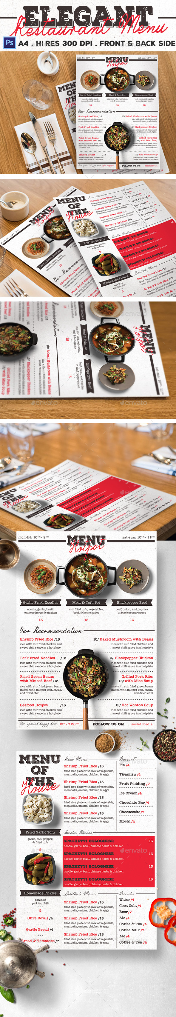 Elegant Restaurant Menu - Food Menus Print Templates