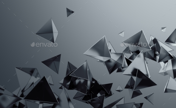 GraphicRiver Abstract 3D Rendering of Flying Polygonal Shapes 20768051