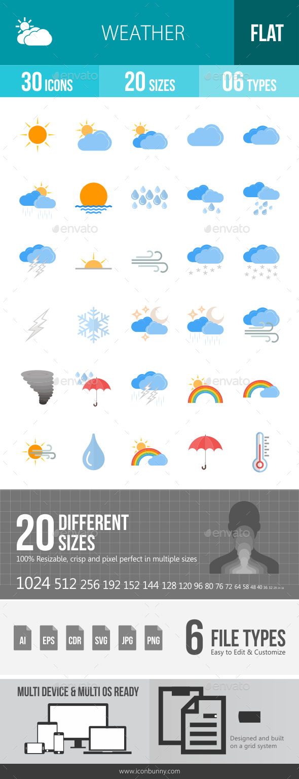 GraphicRiver Weather Flat Icons 20768089