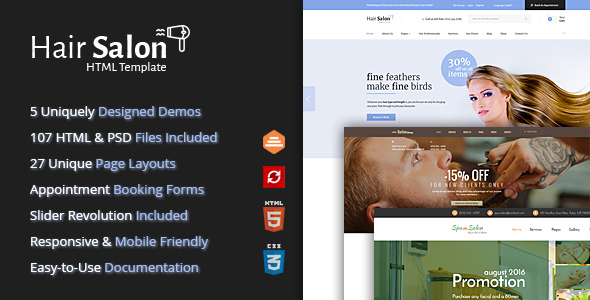 ThemeForest Hair Salon HTML Template for Barber Shops & Beauty Salons 20768747