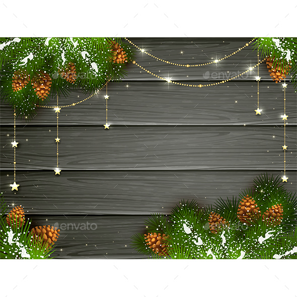 Golden Christmas Decorations on Black Wooden Background - Christmas Seasons/Holidays