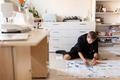 fashion designer making dress at sewing studio