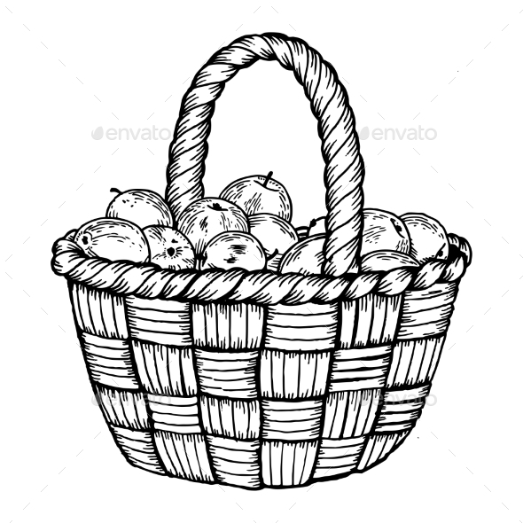 GraphicRiver Basket with Apples Engraving Vector Illustration 20769095