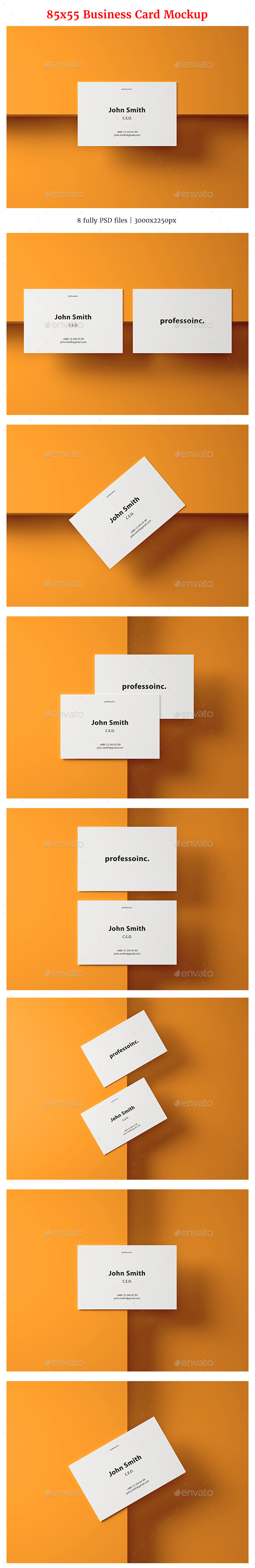 85x55 Business Card Mockup Set 2 - Business Cards Print