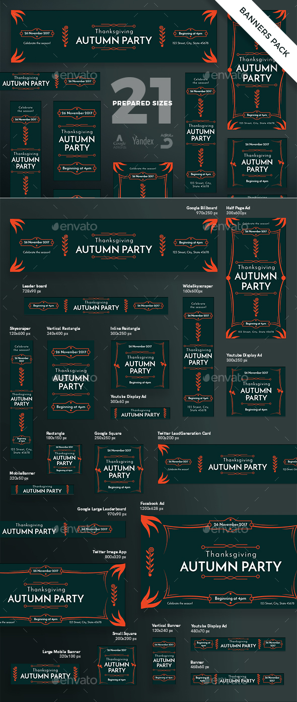 Autumn Party Banner Pack - Banners & Ads Web Elements