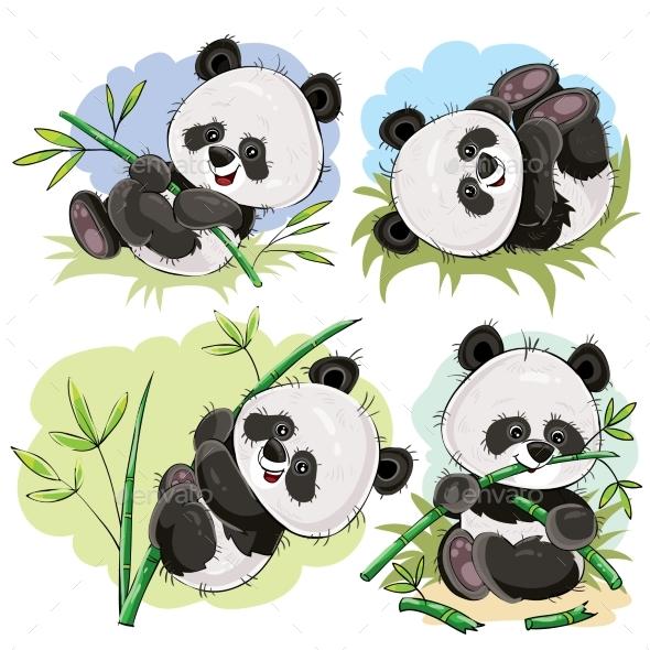 Playful Panda Bear Baby with Bamboo Cartoon Vector - Animals Characters