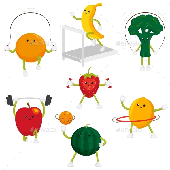 Fruit and Berry Characters Doing Sports - Food Objects