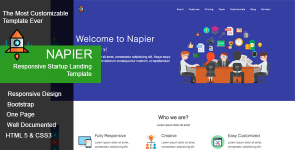 Napier - Responsive Startup Landing Template - Marketing Corporate