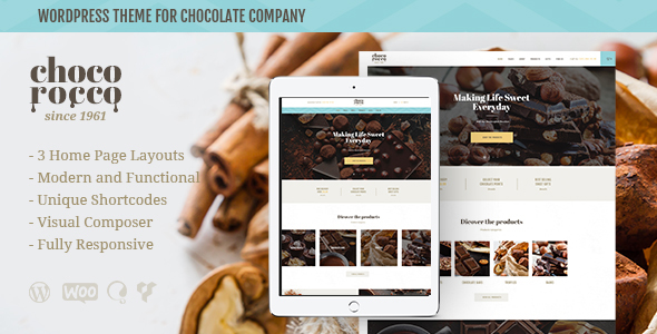 ThemeForest ChocoRocco Chocolate Company WP Theme 20769788