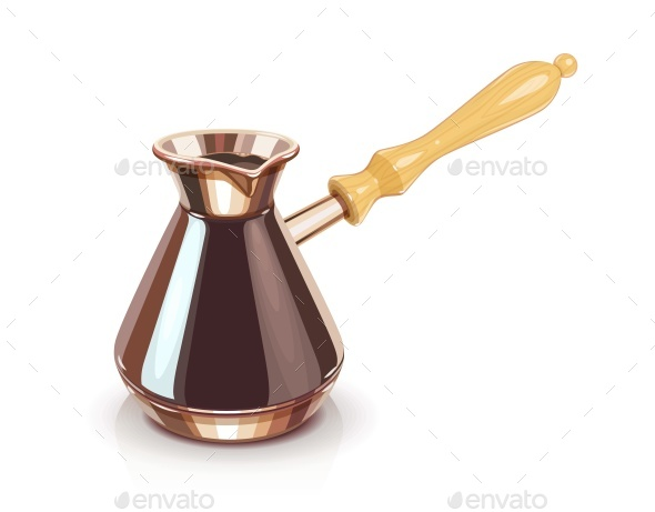 Turkish Coffee Pot with Handle - Man-made Objects Objects