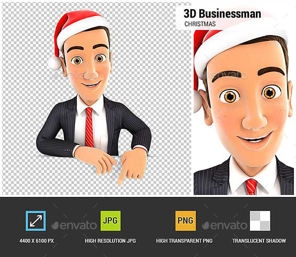 3D Businessman Christmas - Characters 3D Renders