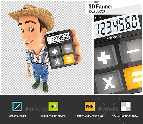 3D Farmer Holding Calculator - Characters 3D Renders