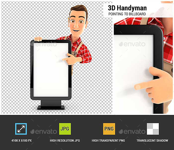 3D Handyman Pointing to Blank Billboard - Characters 3D Renders