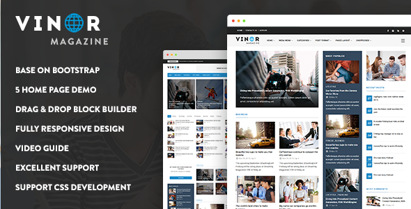 Vinor Magazine - Responsive Magazine News Drupal 8 Theme - News / Editorial Blog / Magazine