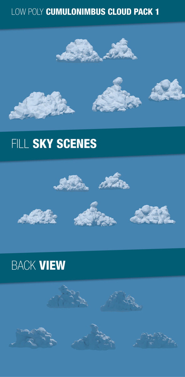 Low Poly Cumulonimbus Clouds Pack 1 - 3DOcean Item for Sale