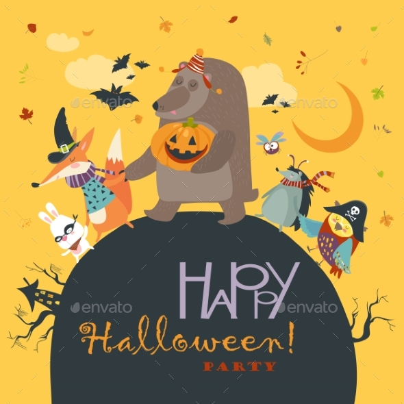 GraphicRiver Animals Celebrating Halloween 20770322