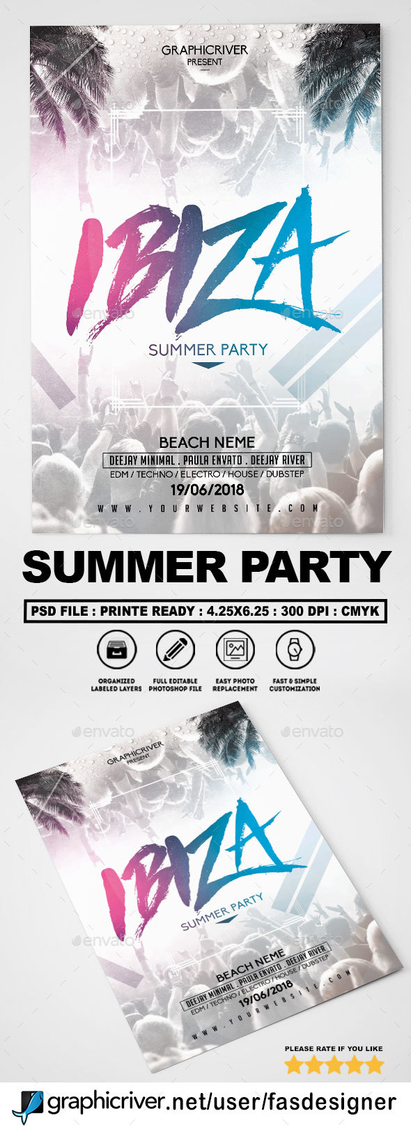 GraphicRiver Summer Party Flyer 20757261