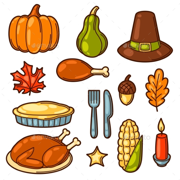 Set of Happy Thanksgiving Day Holiday Objects - Miscellaneous Seasons/Holidays