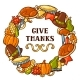 Happy Thanksgiving Day Frame with Holiday Objects - GraphicRiver Item for Sale